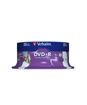 Verbatim DVD+R (16x) - 25 Spindle -  Printable (Id Branded)