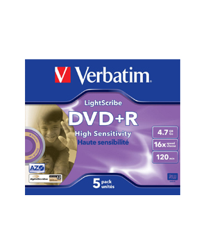 Verbatim DVD+R Lightscribe 4.7Gb 16x (5 pack)