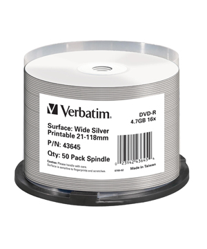 Verbatim DVD-R (16x) 50 spindle Full face silver print - no id