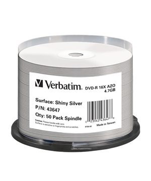 Verbatim DVD-R (16x) - Thermal/Silkscreen Printable - 50 Spindle