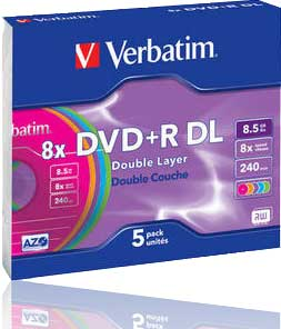 Verbatim DVD+R 8.5GB Double Layer (8x) Colour 5 Pack Slim