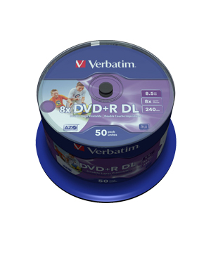Verbatim DVD+R 8.5GB Inkjet Printable - 50 Spindle