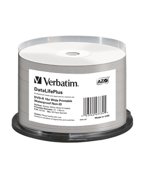 Verbatim DVD-R Wide Printable Waterproof No ID Brand (50