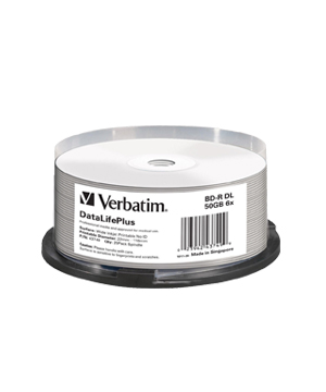 Verbatim BD-R DL 50GB 6x Printable 25 Pack Spindle - No ID Brand