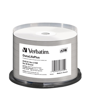 Verbatim DVD-R (16x) - Thermal Printable - 50 Spindle