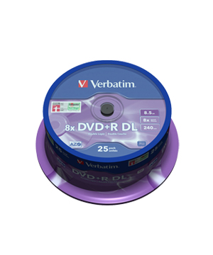 Verbatim DVD+R 8.5gb Dual layer Non-Printable (8x) - 25 spindle