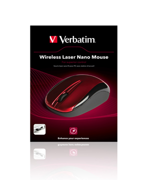 Verbatim Wireless Laser Nano Mouse-Red