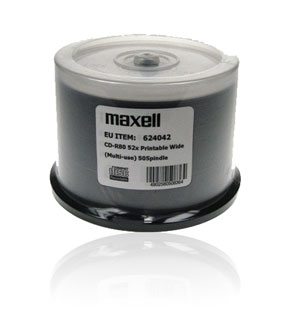 Maxell CD-R80 (52x) Full Face Printable - 50 Spindle
