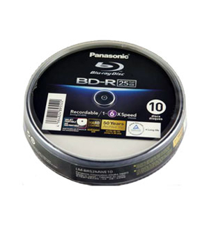Panasonic BD-R 25GB Blu-Ray Printable (10 Spindle)
