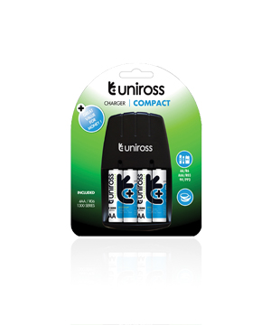 Uniross Compact 9V charger + 4 AA 1200mAh batteries