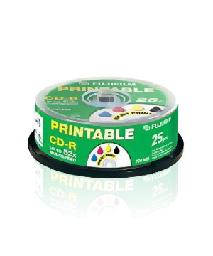 Fuji CD-R80 (52X) Full Face Printable -25 Spindle