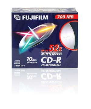 Fuji CD-R80 (52X) Slim Case - 10 Pack