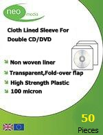 Neo Non-Woven Double Sided CD/DVD Sleeve 100 Micron White