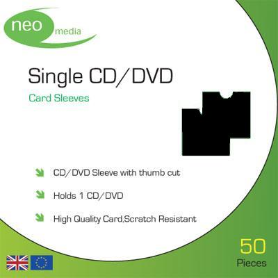 Single CD/DVD Black card sleeves- Pack 50