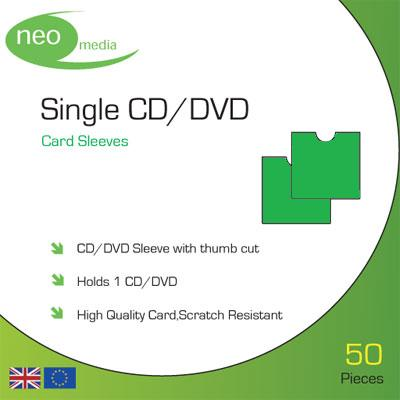 Single CD/DVD Green card sleeves- Pack 50