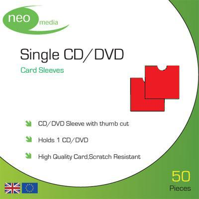 Single CD/DVD Red card sleeves- Pack 50