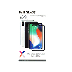 iPhone X full tamper glass clear with black border