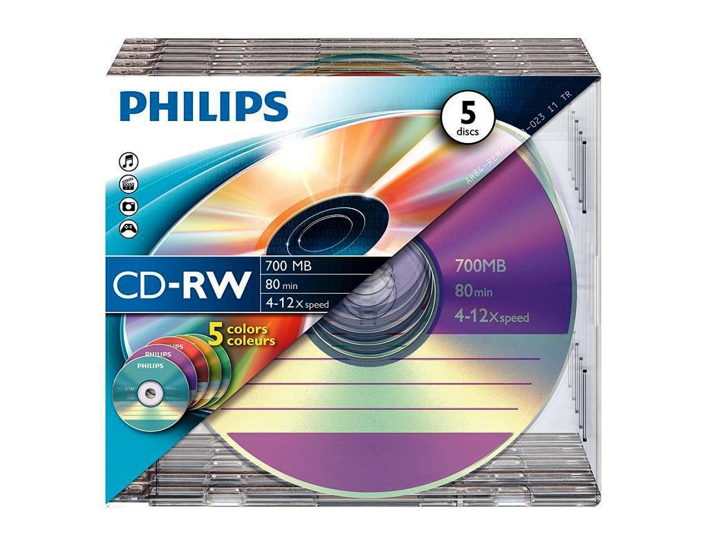 Philips Colour CD-RW 80/700MB (4x - 12x)- 5 pack