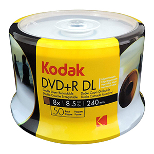 Kodak  DVD+R DL  (8.5gb) Printable 50 Spindle