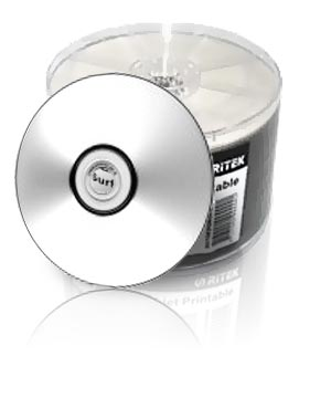 Ritek CD-R80 (52x) Full Face Silver Printable - 50 Shrink Wrap