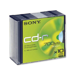 Sony CD-R80 (48x) - Slim Case - 10 Pack