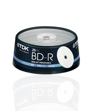 TDK BD-R 25GB InkJet Printable (4x)-25 spindle - T43007