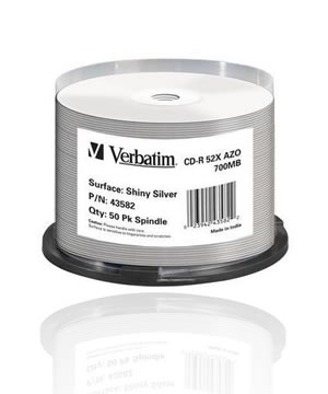 Verbatim CD-R80 (52x) Thermal  silver printable- 50 Spindle