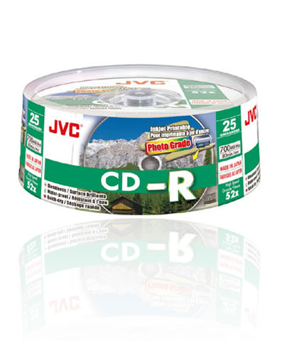 JVC CD-R80 (52x) - (Taiyo Yuden) Full Face Printable 25 Spindle