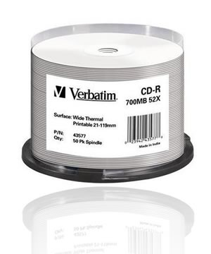 Verbatim CD-R80 (52x) Thermal white  printable- 50 Spindle