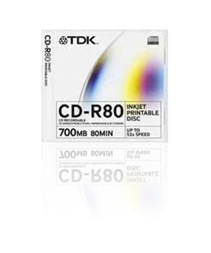 TDK CD-R80 (52x) - Printable Slim Case
