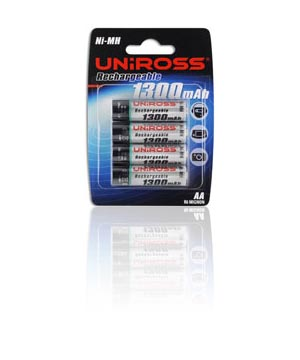 Uniross Rechargeable AA 1300mah - 4 pack
