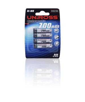 Uniross Rechargeable AAA 700mah - 4 Pack