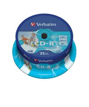 Verbatim CD-R80 (52x) Printable- 25 Spindle