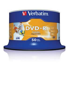 Verbatim DVD-R (16x) Full Face Printable - 50 Spindle (No ID )