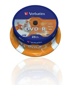 Verbatim DVD-R (16x) 25 Spindle-Full Face Printable (ID Branded)